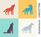 set of wolf logo. icon design.... | Shutterstock .eps vector #1486327568