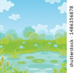 small picturesque blue pond on... | Shutterstock .eps vector #1486356878