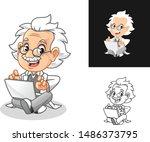 happy old man professor sitting ... | Shutterstock .eps vector #1486373795