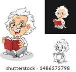 happy old man professor with... | Shutterstock .eps vector #1486373798