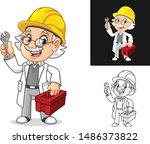 happy old man professor... | Shutterstock .eps vector #1486373822
