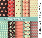 set of trendy seamless floral... | Shutterstock .eps vector #1486376705