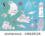 doodle sea   hand drawn set of... | Shutterstock .eps vector #148638128