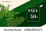 tropical summer sale poster  ... | Shutterstock .eps vector #1486382015
