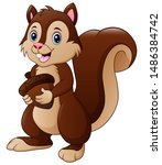 Funny Squirrel Cartoon Holding...