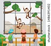 at the zoo  children looking at ... | Shutterstock .eps vector #1486391402