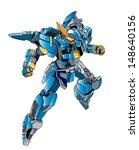 flying metallically blue robot...