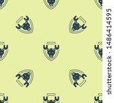 blue moose head on shield icon... | Shutterstock .eps vector #1486414595