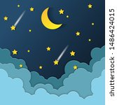 night sky with stars and moon....   Shutterstock .eps vector #1486424015