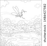funny mosquito flying over a... | Shutterstock .eps vector #1486427582