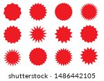 set of red star or sun shaped... | Shutterstock .eps vector #1486442105