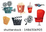 cartoon cinema elements. movie... | Shutterstock .eps vector #1486506905