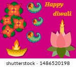 deepavali card with lotus and... | Shutterstock .eps vector #1486520198