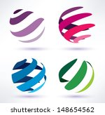 set of 3d  abstract globe icons | Shutterstock .eps vector #148654562