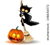 halloween cat cartoon on witch... | Shutterstock .eps vector #148656572