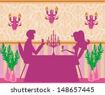 young couple flirt and drink... | Shutterstock . vector #148657445