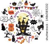 happy halloween design elements.... | Shutterstock .eps vector #1486585232
