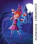 little witch on halloween night | Shutterstock .eps vector #1486604015