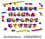 3d geometric font. isometric... | Shutterstock .eps vector #1486608932