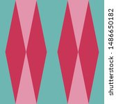Bold Christmas seamless harlequin pattern, pink, red and aqua. 1950