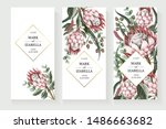 wedding invitation with leaves  ... | Shutterstock .eps vector #1486663682