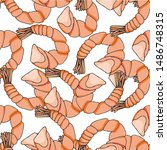 shrimp endless pattern.... | Shutterstock .eps vector #1486748315