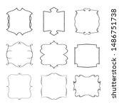 set of vintage frames on white... | Shutterstock . vector #1486751738