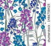 floral seamless texture.... | Shutterstock .eps vector #1486758425