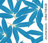 monochrome floral seamless... | Shutterstock .eps vector #1486758428