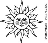 vintage sun with face  icon in... | Shutterstock .eps vector #1486769522