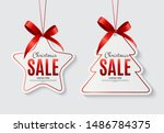 christmas sale labels with bow. ... | Shutterstock .eps vector #1486784375