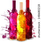 group of wine bottles with... | Shutterstock .eps vector #148680218