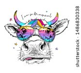 cute cow in a rainbow glasses... | Shutterstock .eps vector #1486830338