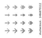 set of arrow line icon design ...