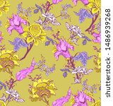 seamless pattern of decorative... | Shutterstock .eps vector #1486939268
