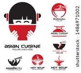asian cuisine logo set  vector  | Shutterstock .eps vector #1486971002