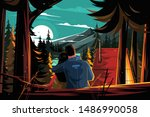couple resting in pine forest... | Shutterstock .eps vector #1486990058