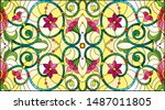 illustration in stained glass... | Shutterstock .eps vector #1487011805