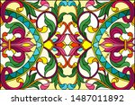 illustration in stained glass... | Shutterstock .eps vector #1487011892