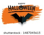 happy halloween text banner ... | Shutterstock .eps vector #1487045615