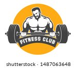 fitness club or gym emblem.... | Shutterstock .eps vector #1487063648