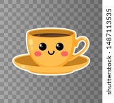 yellow cup of kawaii coffee on... | Shutterstock .eps vector #1487113535