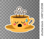 yellow cup of kawaii coffee on... | Shutterstock .eps vector #1487113538