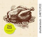 vintage fast food background.... | Shutterstock .eps vector #148711922