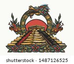 ancient maya civilization.... | Shutterstock .eps vector #1487126525