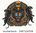 black panthers and mayan sun... | Shutterstock .eps vector #1487126558