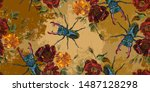 embroidery beetle deer  roses... | Shutterstock .eps vector #1487128298