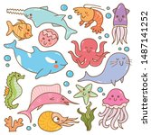 set of sea animal kawaii doodles | Shutterstock .eps vector #1487141252