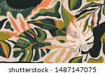 modern exotic jungle plants... | Shutterstock .eps vector #1487147075