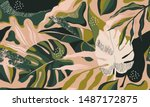 modern exotic jungle plants... | Shutterstock .eps vector #1487172875